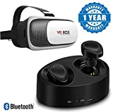 #6: Captcha® Free Stereo Twins Wireless Headset with Dock Charger Box and VR Box Headset Virtual Reality 3D Glasses Compatible with All Smartphone (One Year Warranty)