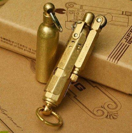 Desconocido Jifeng Brass Vintage Antique Old Fashioned Kerosene Antique Gold Encendedor + Olla de Aceite