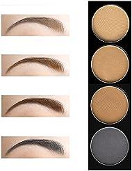 DE'LANCI 4 Color Pro Eyebrow Powder Wax Makeup Palette Cosmetic Shading Kit with Brush Mirror 4Pcs Eye Brow Stencils Set (4 Colour)