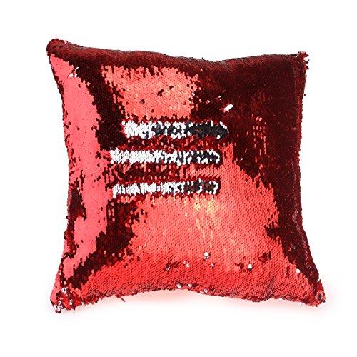 Euro Kissen-abdeckungen (NUOLUX DIY-Two Tone Glitzer Pailletten Wurfkissen Fällen und Abdeckungen Farbwechsel Skala Euro dekorative Hause Kissen Sofa Kissenbezug (rot))