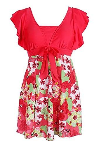 Wantdo Femme Maillots De Bain Une Pièce Pour Natation Sportif Amincissant Impression De Fleur Avec Ceinture Taille Haute Rouge 34-36