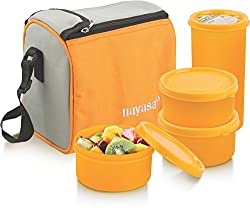Nayasa Nebula Plastic Lunch Box, 4-Pieces, Mango