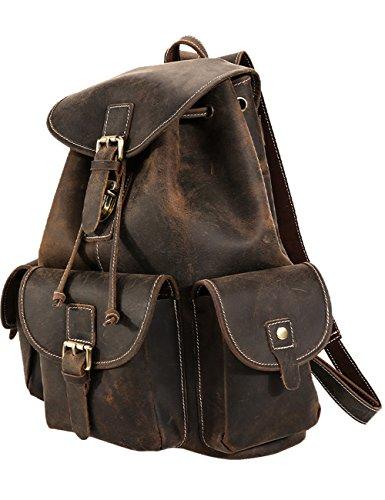 Menschwear Hombres de mochila De Cuero Genuino de casual Bolsa Oscuro-Marrón