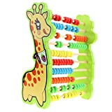 F Fityle Buntes Hirschabakus Hölzernes Rechenrahmen mit 100 Perlen Pädagogisches Spielzeug für Kinder
