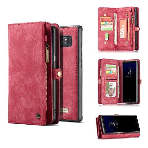 Executive-schwarz-roten Rahmen (Hhpcspc Für Galaxy Note 8 Case, CaseMe 2 in 1 Multifunktionale Vintage handgemachte Leder Brieftasche mit Kartensteckplätzen und abnehmbarem Bezug, Premium-Reißverschluss Geldbörse (Color : Red))