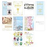 Set 10 Premium Kommunionskarten mit Umschlag - Glückwunschkarte zur Kommunion