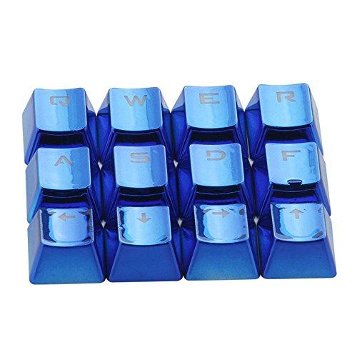 Rosepoem Teclado mecánico Teclado Teclado 12 piezas Juego Teclado Tapas para llaves Transmisión de luz Pbt Plating Tapa para llaves - Azul (Juegos Para Llaves)