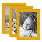 PHOTOLINI 3er Set Bilderrahmen Gelb 10x15 cm Massivholz mit Acrylglasscheibe/Fotorahmen/Wechselrahmen
