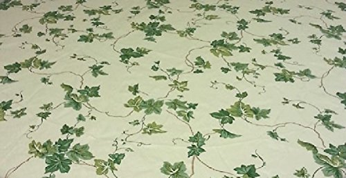 Spannbettlaken Elastic Edge rund Tischdecke aus Vinyl, passt 91,4cm zu 116,8cm Antike Ivy - Kindersicher Edge