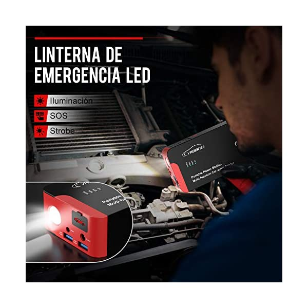 YABER Portátil AC Arrancador de Coches, 22000mAh 2000A Arrancador Batería Coche (para Todo vehículo de Gasolina o 8.0L de Diesel) con DC y Carga Rápida QC3.0
