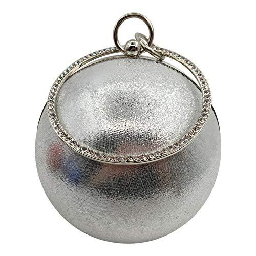 Reset 523 Frauen-Abend-Beutel-Gold Silber Pailletten Damen-Handtasche der berühmten Marken-Frauen-Handtasche Kleine runde Kettenschultertaschen-in Top, Silber -