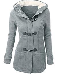 6829994f9a56 Elecenty Damen Lange Wintermantel Mit Kapuze Windbrecher Sweatshirt Mantel  Outwear Winterjacke Sweatjacke Parkajacke Jacke…