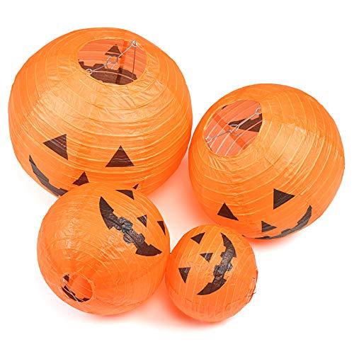 """KESOTO Halloween Lampions Kürbis Set, 10 Stück Hängedekoration für Halloween Party (6""""+ 8""""+10""""+12"""") - 3"""