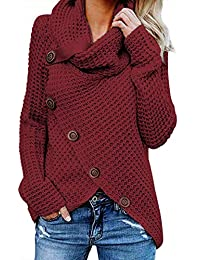 FIYOTE Damen Winterjacke Warm Strickjacke Rollkragen Cardigan Strickpullover Casual Wrap Wickel Pullover Sweater 7 Farbe S/M/L/XL/XXL