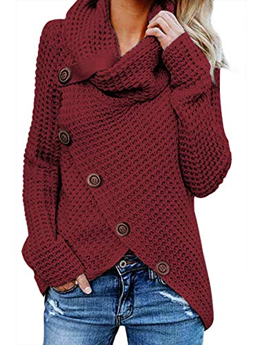 FIYOTE Damen Sweater Strickjacke Rollkragen Gefüttert Cardigan Zopfmuster V-Ausschnitt Hoodies 3 Pullover Hoodies