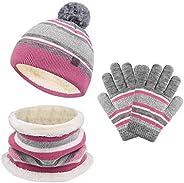 Set di guanti invernali per bambini con cappello e sciarpa, per bambini, in maglia, per bambini e bambine, 3 p