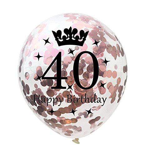 Tonver 40anni di matrimonio ballons, 10pz/30cm in lattice confetti balloon party decorazione forniture per ruby matrimonio anniversario, lattice, happy birthday balloon - rose gold, 30 cm
