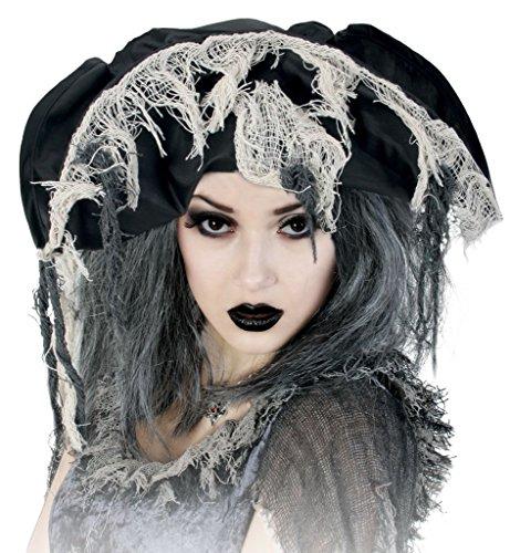 KarnevalsTeufel Hut Zombie-Pirat für Erwachsene in Schwarz mit -
