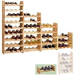 Botellero NORDIC, madera maciza de nogal aceitado, individual, màx. 4 botellas, apilable/ampliable - alt. 16 x anch. 51 x pr. 23 cm