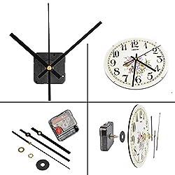 QLOUNI Lautloses Quarz-Uhrwerk, Maximale Zifferblatte von 3/10 Zoll dick, Gesamtschaftlänge von 4/5 Zoll, Schwarz