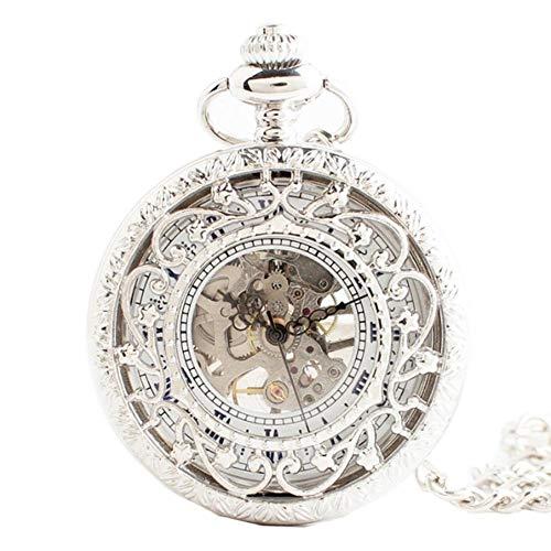 GONGFF Taschenuhren Fob Uhren Quarz Hohl Geschnitzte Flip Cover Retro Kreative Halskette Hochzeitsgeschenk, 1,7 Zoll -