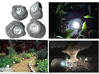 SET OF 4 OUTDOOR SOLAR WHITE BRIGHT LED ROCK POND GARDEN PATIO DECKING LIGHTS