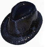 Noir Sequins Chapeau Taille 57cm Homme ou Femme Parfait pour les festivals ou Clubbing