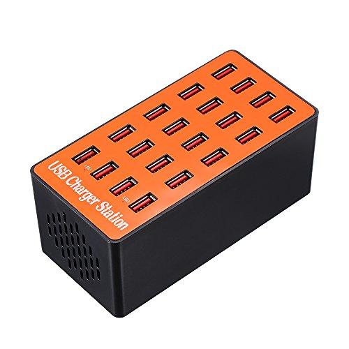 Docooler 100W 20-Port USB Ladegerät Adapter Smart Ladestation mit Auto erkennen Tech und Faltbare Stecker für iPhone 7S / 6S / 5S / 4S, für iPad PDA, für SamsungP1000 Perfekt
