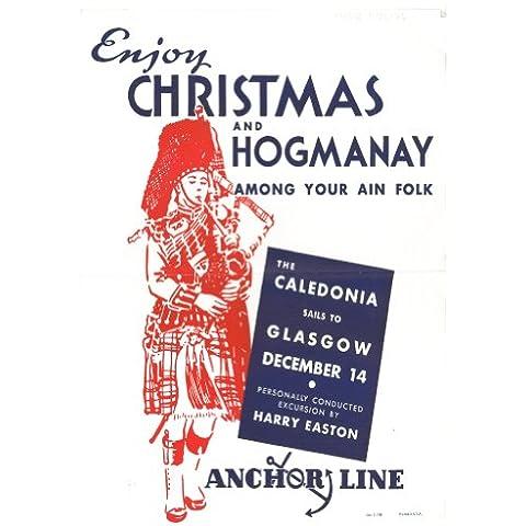 Viaje de la vendimia Escocia para GLASGOW disfruta Navidad y Nochevieja entre sus ain arreos c1935 con la línea de anclaje en el Caledonia 250gsm fonón tarjeta del arte A3 cartel de la