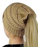 Bonnet Hiver Femme en Tricot avec Trou pour Queue de Cheval Beanie Hat Multicolore(Khaki)