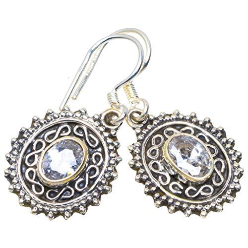 925er Sterling Silber White Topaz Einzigartig Handgefertigt Ohrringe 3,18cm White Topaz M1569