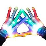 Womdee LED Skeleton Hand Handschuhe 8 Farbe Veränderbare Hand Blinklicht für Halloween, Club, Geburtstag, EDM, Disco und Party