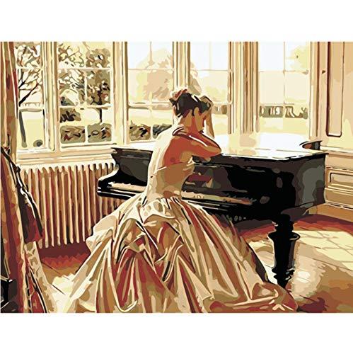 UJGIOY Malen nach Zahlen Rahmenlose DIY Bild Ölgemälde färbung Nach Zahlen Zeichnen Wandkunst Leinwand Figur Malen Wohnkultur Frau im Klavier 40x50 cm