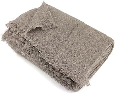 Manta 180x 220cm lana mohair 320G/m² Thesee marrón Taupe