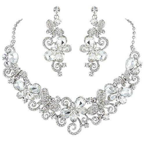 Ever Faith Orecchini collana della farfalla Saluto nuziale Set cristallo austriaco Silver-Tone N04449-1