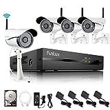 Funlux 4 Kanal 1080p HDMI kabelloses WLAN Überwachungssystem mit 4 echten 720p HD Überwachungskameras, wetterfest, 1TB HDD