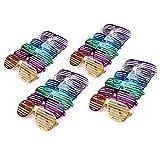 Schramm® 24 Stück Partybrille metallic 6 Farben Partybrillen Bunt Gitterbrille Spaß Spass Brille Atzen Brillen Party Brille 24er Pack