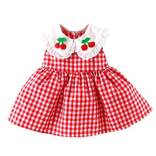 KIMODO Baby Mädchen Kleinkind Kleid Karierte Kirsche Bestickt Rüsche Kleid Tütü Urlaub Sommerkleid Prinzessin Outfit Kleidung -