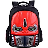 3D Robot School Backpack With LED Flashing Light For Kids Boys 16 Inchs (Red)
