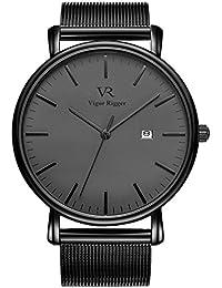 Vigor Rigger Herren Uhren Ultra Dünne Schwarze Minimalistische Quartz mit Datumsanzeige und Milanese Armband