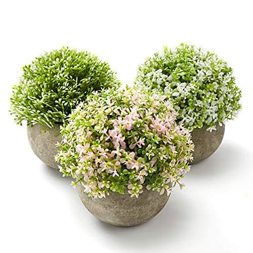 Vintoney Künstliche Blumen Bonsai Kunstpflanze mit grauen Topf,3er Mini Gefälschte Blumen Lebensechte Kunstpflanze ideal für Hochzeit Büro Zuhause Deko