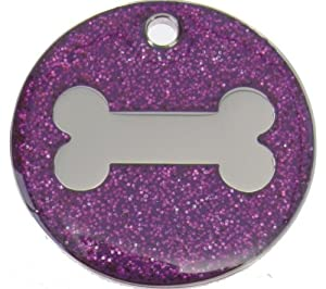 Just Pets Quality Enamel Purple Glitter Dog Tag, Dog Bone Design, Personalised, Engraved Free by Phoenix Engraving & Gifts