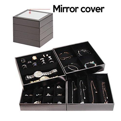 JackCubeDesign Set aus 4 stapelbaren Leder Schmuck Tablett mit Spiegel Abdeckung Ohrring Halskette Armband Ring Veranstalter Display Aufbewahrungsbox (Silber, 18 x 18 x 17 cm) -: MK409B