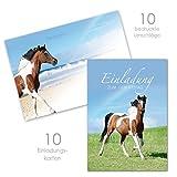 10 Pferde Einladungskarten für Mädchen