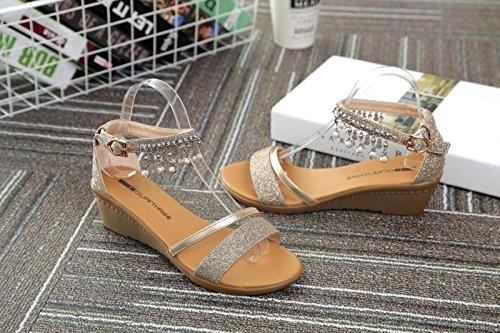XY&GKDichotomanthes unteren kleinen Keil's Sandalen Frauen Sommer Diamond Pearl Beach Sandalen Sandalen Crystal Gesicht, komfortabel und schön 38 gold