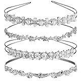 4 Stücke Hochzeit Kristall Blume und Blätter Krone Stirnband und Damen Faux Perle Strass Kopfschmuck für Braut Brautjungfern