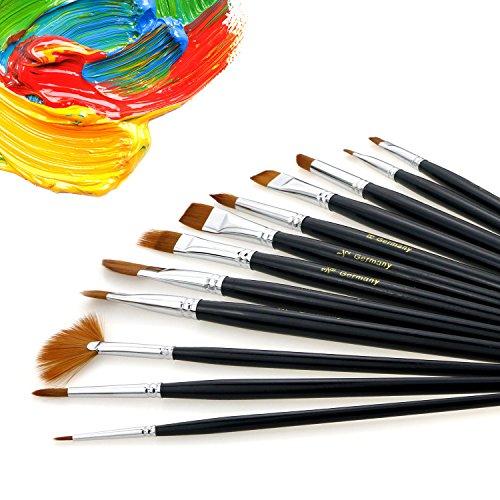 TedGemSet de Pinceles Brochas, 12 brochas profesionales con pelo de nylon,más 2 Pinceles Paleta para pinturas acrilicas,acuarelas,pinturas de dedos