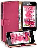 moex Samsung Galaxy S2 | Hülle Pink mit Karten-Fach 360° Book Klapp-Hülle Handytasche Kunst-Leder Handyhülle für Samsung Gala