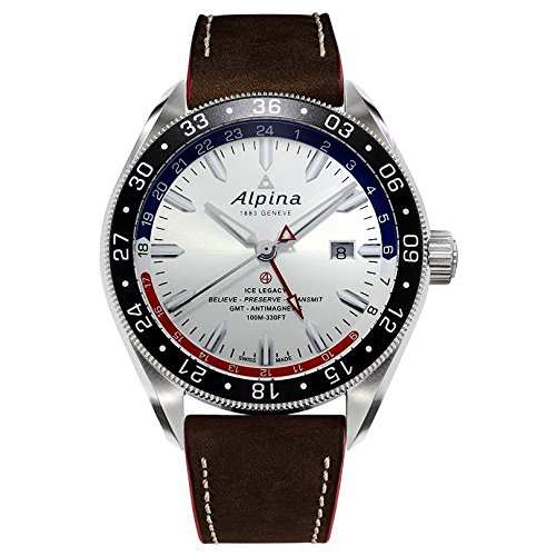 Alpina Men's 'Alpiner 4 GMT' Automatic Stainless Steel and Leather Casual Watch, Color Brown (Model: AL-550SRN5AQ6)