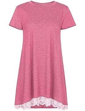 ZhuiKun Camiseta Mujer Cuello Redondo Manga Corta Sueltas Blusas Tops